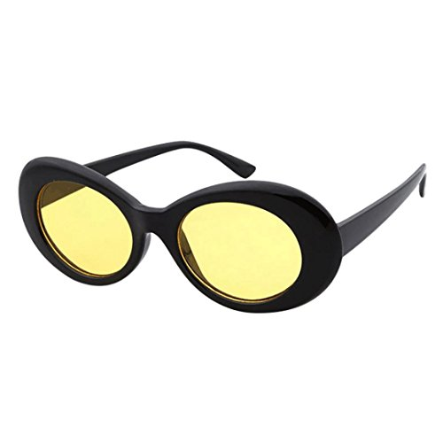 Price comparison product image BEUU Round Frame Sunglasses Glasses Retro Vintage Clout Goggles Unisex Rapper Oval Shades Grunge (H)