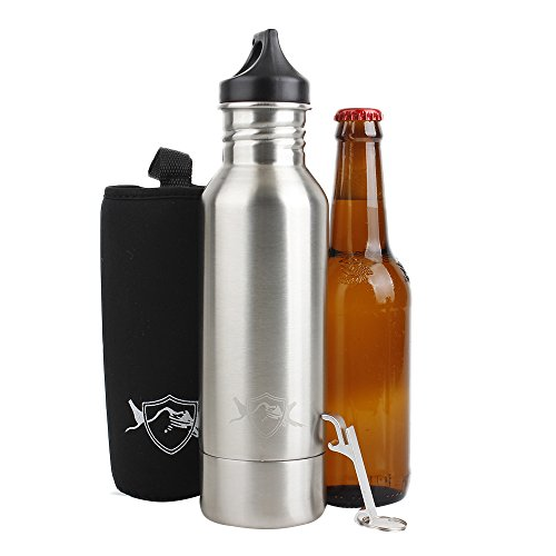 Beer Bottle Cooler and Insulator - Stainless Steel Bottle w/ Bottle Opener and Koozie - Keeps Bottle Ice Cold -Perfect for Cookouts, Camping, Tailgating (Patio Hot Tub Design Ideas)