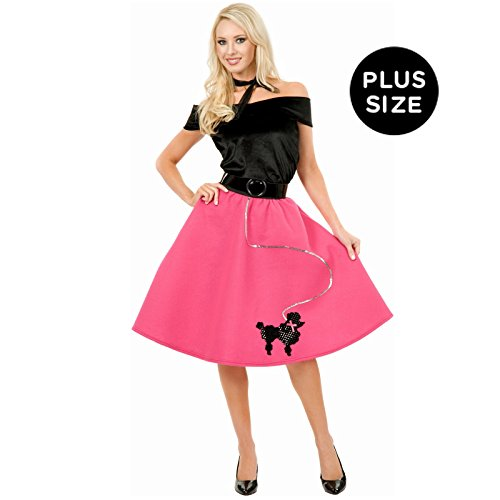 Poodle Skirt, Top & Scarf Adult Plus Costume (As Shown;3X) (Plus Size Poodle Skirt Costume)