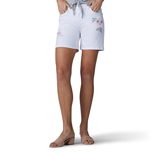 LEE Women's Modern Series Midrise Fit Cora Embroidered Short, White, -