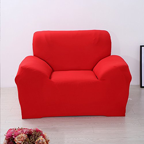 - Solid Color Elastic Sofa Cover Stretch Arm Elastic Sofa Slipcover 1 2 3 Piece Polyester Spandex Fabric Slipcovers (Red - singel)