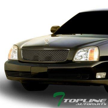Topline Autopart Matte Black Mesh Front Hood Bumper Grill Grille ABS For 00-05 Cadillac Deville