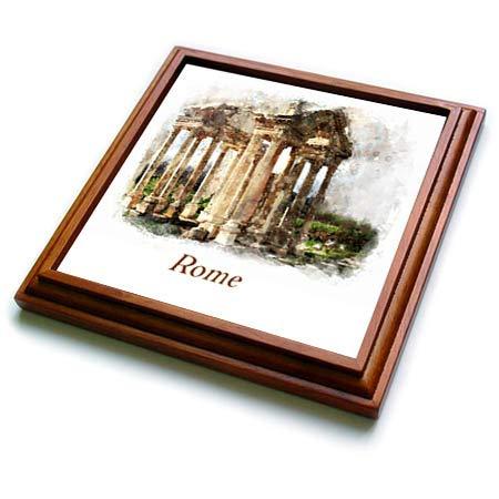 Coliseum Framed (3dRose lens Art by Florene - Watercolor Art - Image of Watercolor Painting Of Coliseum In Rome - 8x8 Trivet with 6x6 ceramic tile (trv_304521_1))
