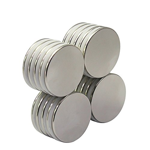 Strong Neodymium Disc Magnets 20 Pack For Kitchen, Office, Garage, Home, Workplace, 1.26''D x 0.08''H by HongsMarket (Image #3)