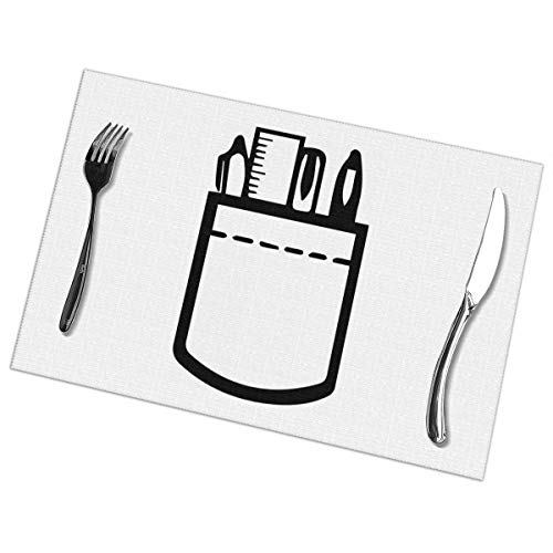 FJCP2CP Pocket Protector Nerd Print Placemat Heat Insulation Anti-Skid Wipeable Mats for Kitchen Dining Table Decoration 6 Piece 12