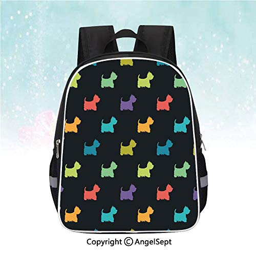 School Student Backpack,Colorful Dog Silhouettes West Highland Terriers