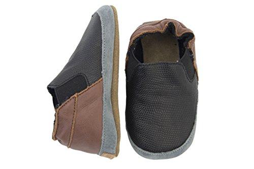 Melton Krabbelschuhe Unisex - Zapatillas de casa Bebé-Niños Negro - Schwarz (BLACK190)
