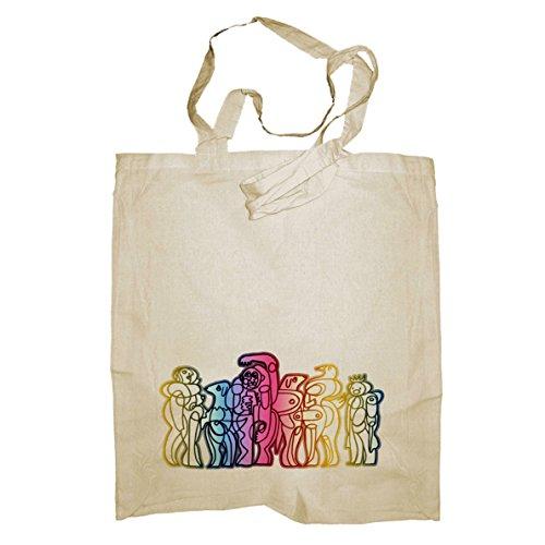 My Custom Style® Shopper in cotone naturale di colore beige modello Astratta 005manici corti da 35cm; formato borsa 38x42cm. La seconda foto si riferisce al modello di borsa scelto, limmagine princ