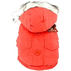 SMALLLEE_LUCKY_STORE Thick Cotton-padded Dog Coat Winter Hooded Scarf Bear Patch, Red, Small