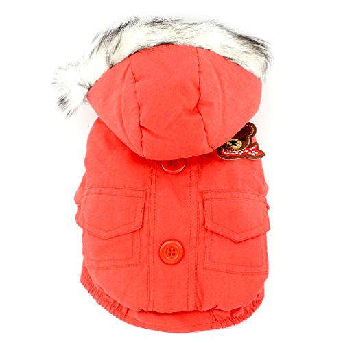SMALLLEE_LUCKY_STORE  Thick Cotton-padded Dog Coat Winter Hooded Scarf Bear Patch, Red, Small (Base Jumper Raincoat Camo)