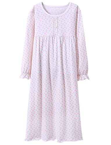 BOOPH Girls' Princess Nightgown, Baby Toddler Long Sleeve Hearts Nightwear 7-8Y
