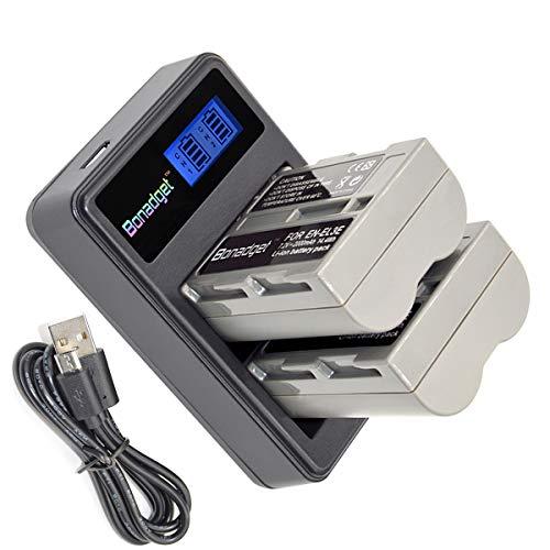 Battery Pack D70s (Bonadget 2 Pack 2000mAh Replacement for Nikon EN-EL3E EL3, EL3a Battery Charger USB Kit Rechargeable Li-Ion Battery for Nikon D700 D90 D300S D300 D200 D80 D50 D70S D70 D100 D900 Digital Cameras)
