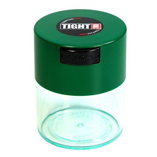 Tightvac - 1/2 oz to 3 ounce Airtight Multi-Use Vacuum Seal Portable Storage Container for Dry Goods, Food, and Herbs - Green Cap & Clear Body