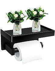Uitbond SUS304 Toiletpapierhouder, zonder boren, met legplank, zelfklevend, voor keuken en badkamer