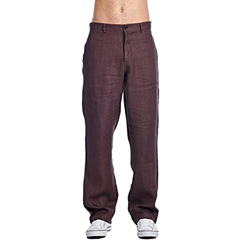 High Style Mens Casual 100% linen pants(9505B, ChocolateBrown, 34)