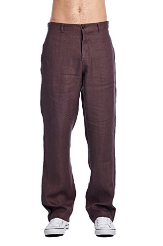 High Style Men's Casual 100% linen pants(9505B, ChocolateBrown, 32)