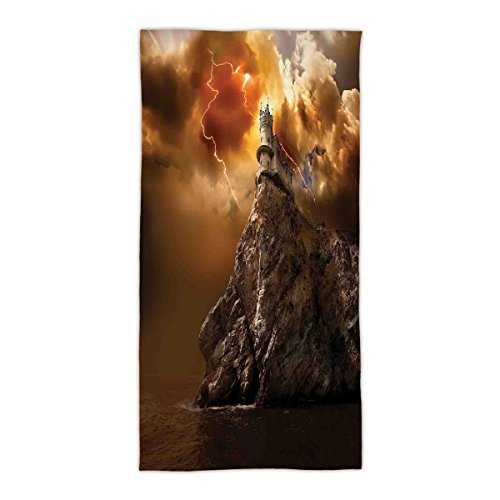 "31.49""W x 62.99""L Cotton Microfiber Bath/Hand Towel,Lake House Decor,Fantasy Castle on Top of the Cliff with Lightning Supernatural Place Fiction Print,Orange Brown,Ultra Soft,For Hotel Spa Beach Pool"