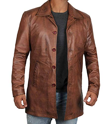 Decrum Distressed Brown Leather Jacket Mens | Super Tan, XXXL