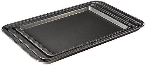 - Ecolution EIGY-7003 3 Piece Heavy-Duty Carbon Steel Bake Ins Non-Stick Cookie Sheet Set, Gray