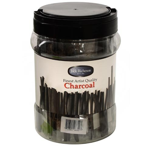 Jack Richeson Non-Toxic Soft Vine Charcoal Stick with Canister, 3/16 X 6 in, Black, Pack of 144 by Jack Richeson