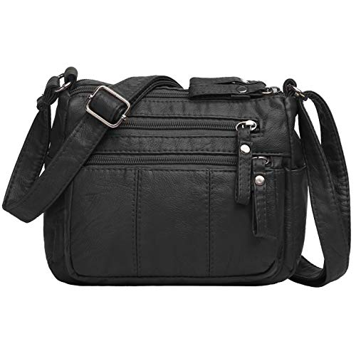 Volcanic Rock Women Crossbody Bag Pocketbooks Soft PU Leather Purses and Handbags Multi Pocket Shoulder Bag (Black-8.7
