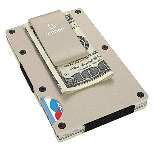 Slim Wallet, Mens Front Pocket Wallet RFID Blocking Card Metal Holder Money Clip Minimalist Wallet - Ideal For Travel & Daily Use, With BONUS Tactical Pocket Survival Card - Aluminum ()