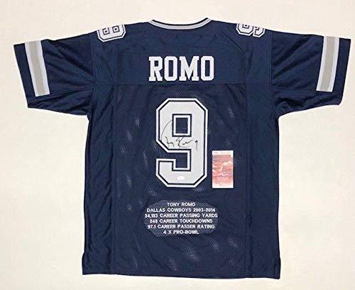 - Signed Tony Romo Jersey - PRO STYLE STAT w WITNESS COA #WPP189484 - JSA Certified - Autographed NFL Jerseys