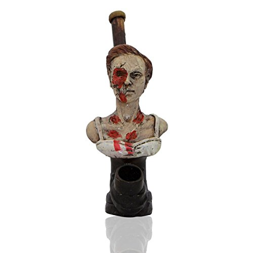 Handmade Tobacco Pipe Horror Movies Hand Painted Art Collectible (Zombie Girl)