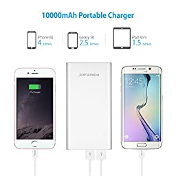 [Upgraded] Poweradd 2nd Gen 3.4A Pilot 2GS 10,000mAh Dual USB Portable Charger External Battery Pack with High-Speed Charge for iPhone iPad Samsung Galaxy and More - Silver (Apple Cable Not Included)