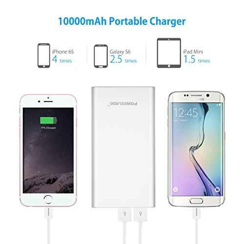 Upgraded Poweradd 2nd Gen 34A Pilot 2GS 10000mAh parallel USB convenient External Battery Charger electrica Bank by suggests of  Li polymer Battery Cells and compact weight aluminum Body for iPhone iPad Samsung HTC LG and far more Silver Wall Chargers