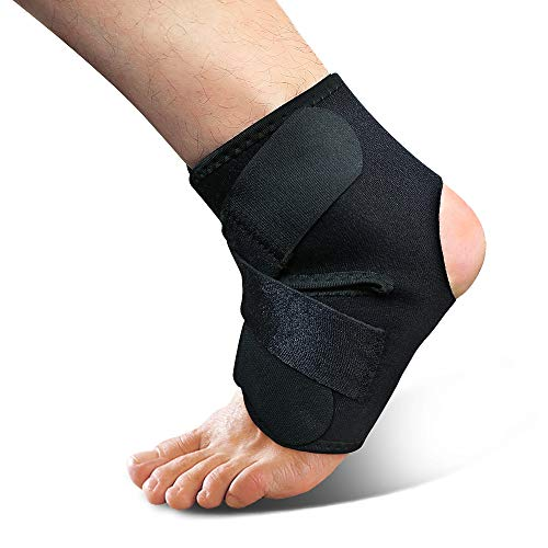 Ankle Brace – Adjustable Foot Support Wrap and Compression for Sprained Ankle – Ankle Stabiling Ligaments, Prevent Re-Injury