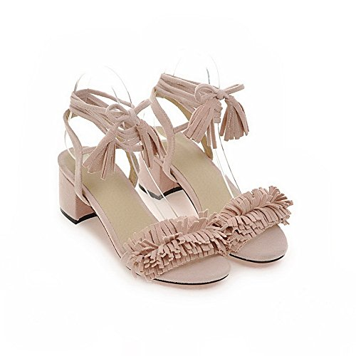 Dress MJS03235 Womens Lining Cold Pink Fringed Sandals Urethane 1TO9 0Bq4Ewxw
