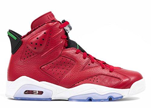 Nike Mens Air Jordan 6 Retro Spizike History of Spizike Varsity Red/Classic Green-Wht Leather Basketball Shoes Size 11