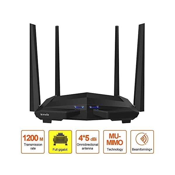 Tenda AC10 AC1200 Wireless Smart Dual-Band Gigabit WiFi Router, MU-MIMO, 4 Gigabit Ports, 867Mbps/5 GHz+ 300Mbps /2.4GHz… 2021 June AC10 AC1200 smart dual-band wireless router; If you cannot access the internet after configuration, ensure that the Ethernet cable connected to the WAN port of the router has connected to the internet AC10 is a high-performance Wi-Fi router designed with full Gigabit WAN and LAN ports Strong dual band Wi-Fi signal for multi-wall penetration