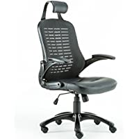 High Back Ergonomic Mesh Office Chair with Headrest and Armrest, Pu Leather Seat, Tilt Lock,Black