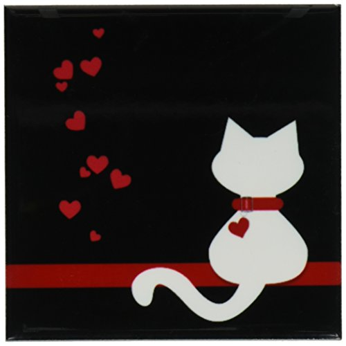 3dRose cst_164792_3 Pet Lovers Red Hearts White Kitty Cat-Ceramic Tile Coasters, Set of (Cat Tile Coaster)