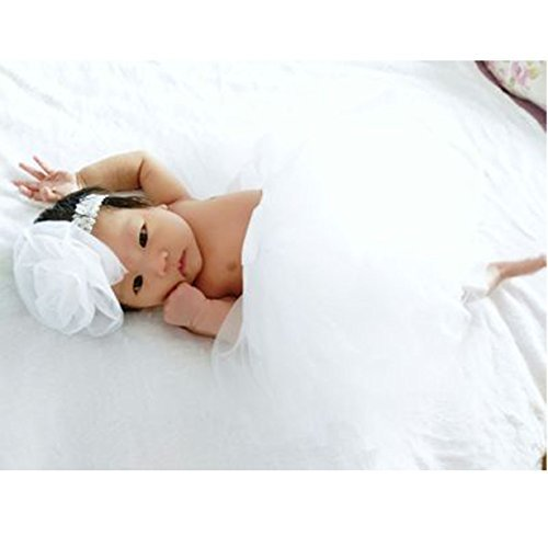 Newborn Photo Props, Photography Props, PP Dress with Headwear - Warm White (Fancy Dress Costumes Christmas)