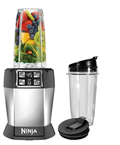 Ninja BL480D Nutri Ninja with 1000 Watt Auto-IQ Base for Juices, Shakes & Smoothies Personal Blender 18 and 24 oz. Black/Silver ()