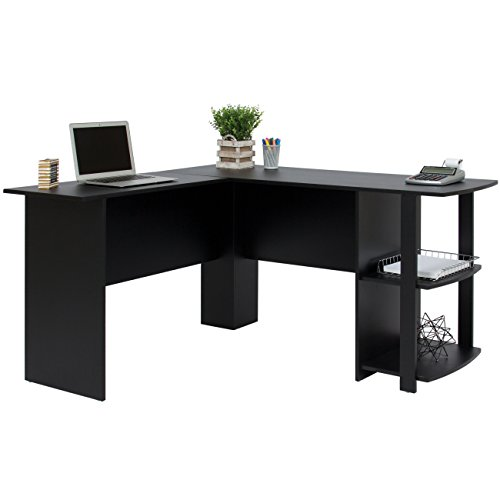 41HGlspRKXL - Best Choice Products L-Shaped Corner Computer Office Desk Furniture- Black