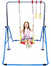 GymPros Kids Jungle Gymnastics 4 in 1 Monkey Bars, Swing Seat, 2 Trapeze Rings, Gymnasts Expandable Junior Training Bar Indoor Foldable Climbing Tower Playground (Blue)