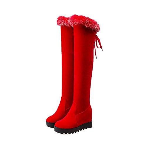 Nudo Caña Redonda Mujeres Sólido Puntera Rojo AllhqFashion Alta Cordones con Cuña Plataforma Botas U6wnqOPxP