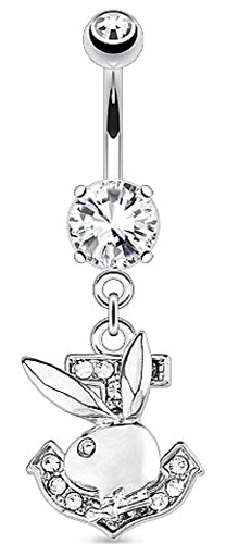 - Belly Button Ring Playboy Bunny Paved Gemmed Anchor 316L Surgical Steel Navel 14g 3/8