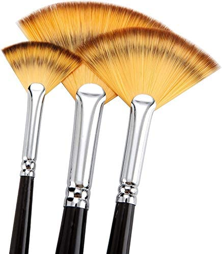 6# Taiguang Wooden Handle Fan Paintbrush Pen Acrylic Water Oil Painting Artist Brushes