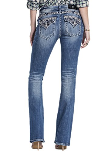 Miss Me Women's Embellished Back Yoke Boot Cut Denim Jean, Medium, 25 by Miss Me