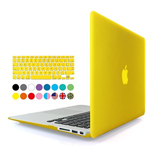 Eastchina 2 in 1 Ultra Slim Light Weight Soft-Touch Plastic Hard Shell Case Cover & Keyboard Cover for 13.3 Inches Apple Macbook 13.3'', Model: A1369 | A1466 (Macbook Air 13'', - Leather 11' Yellow Synthetic