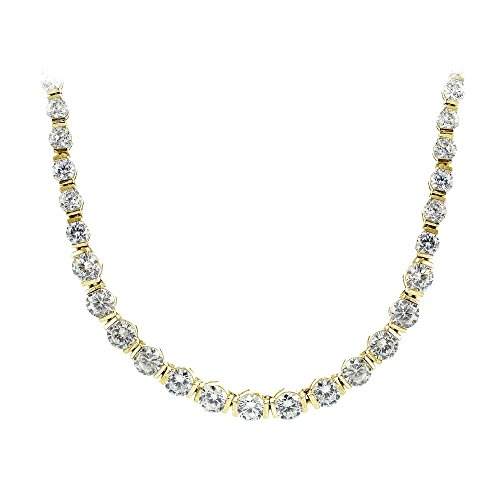 Yellow Gold Flashed Sterling Silver Cubic Zirconia Graduated Bar Tennis Necklace ()