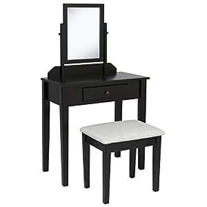Bathroom Vanity Table Set W/ Stool Makeup Hair Dressing Organzer- Black