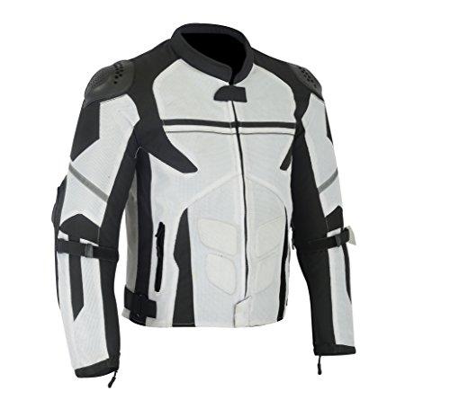 MENS MOTORCYCLE ARMORED EXTERNAL ARMOR/CHEST ARMOR MESH WATERPROOF JACKET WHITE/BLACK MJ-1701. S