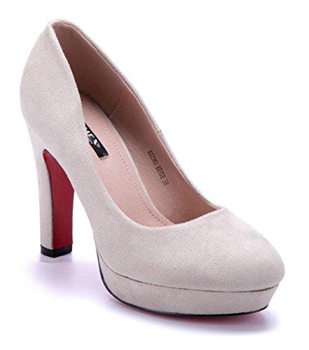 Schuhtempel24 Damen Schuhe Plateau Pumps Beige Trichterabsatz 11 cm High Heels