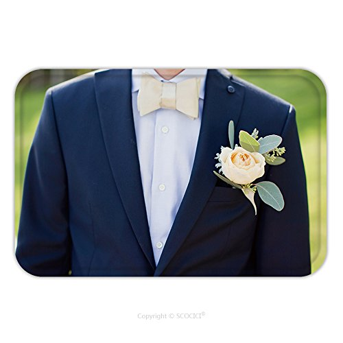 Boutonniere Costume (Flannel Microfiber Non-slip Rubber Backing Soft Absorbent Doormat Mat Rug Carpet Groom S Boutonniere With White Rose And Eucalyptus 585257486 for Indoor/Outdoor/Bathroom/Kitchen/Workstations)